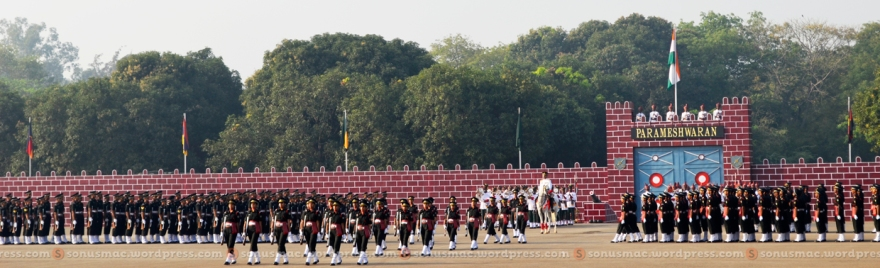 Officer cadets marching in slow march to take The Final Step