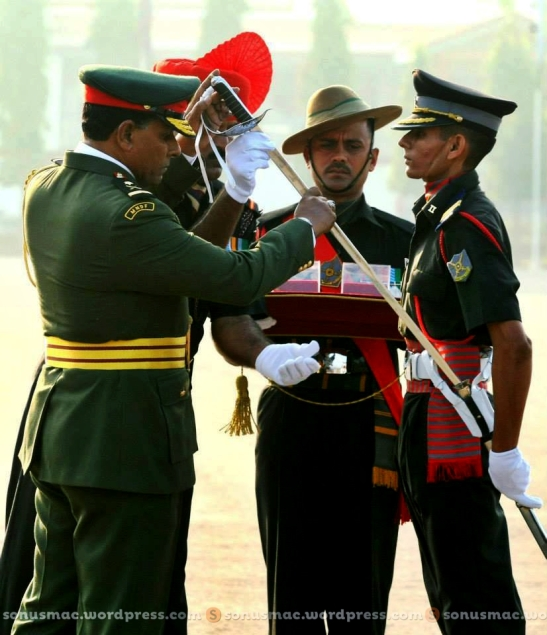 Major General Ahmed Shiyam NDC, PSC presents the Sword of Honour to Academy Cadet Adjutant Sonu Singh Bhadauriya in Chennai on Saturday.