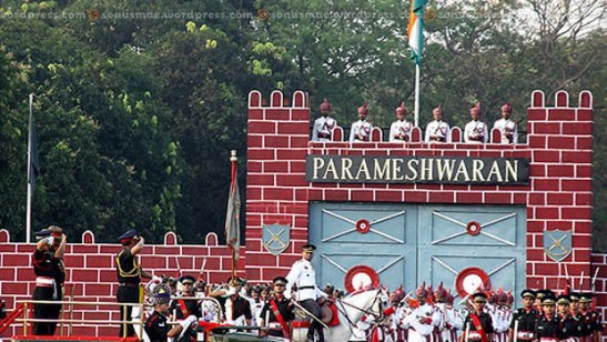 Chief guest inspecting the passing out parade.