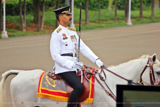 Adjutant OTA, Chennai inspecting parde while being mounted on 'Tej'.
