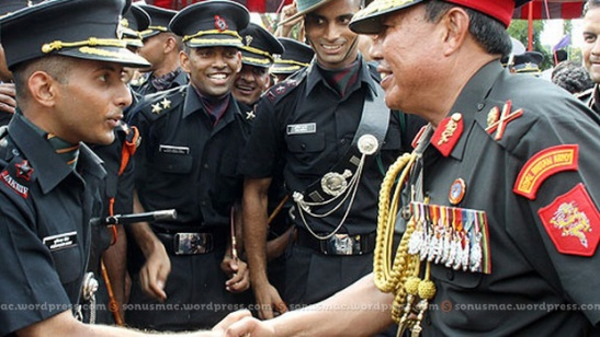 Lt Gen Compose interacts with young officers.